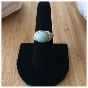Very Sterling Silver Jade Ring, Size 7. No Issues